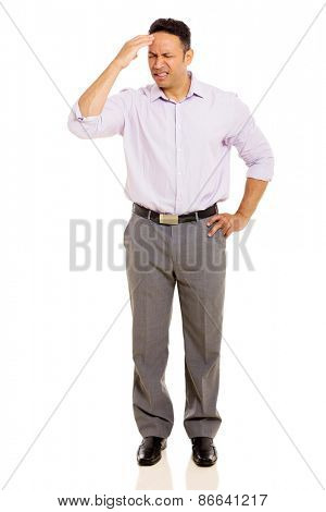 middle aged man having headache isolated on white