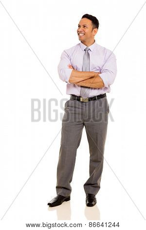 happy mature business man with arms folded isolated on white