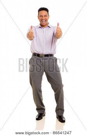 cheerful man giving thumbs up on white background