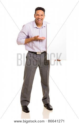 happy man presenting white board isolated on white background
