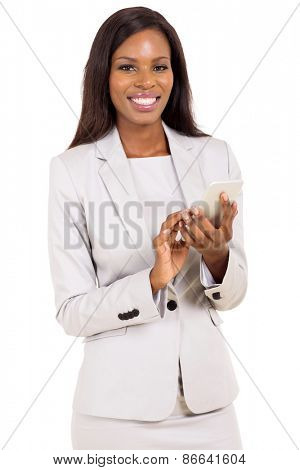 pretty young african businesswoman holding smart phone isolated on white