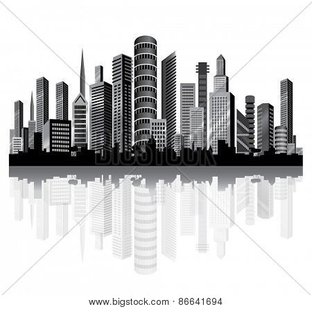 Skyscrapers  in the City on the River. Vector.