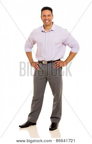 mid age business man posing on white background