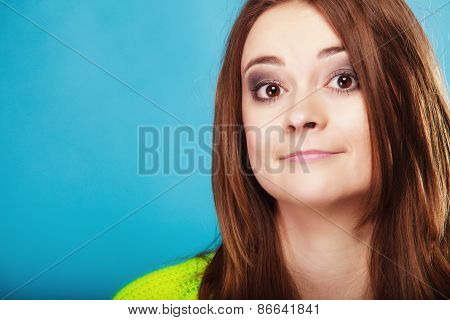 People Concept - Teenage Girl Wide Eyed