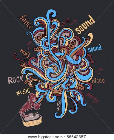 Stylish gramophone, which is letting out music as a colorful pattern. For banners, backgrounds, presentations, party invitations, flyers, posters.