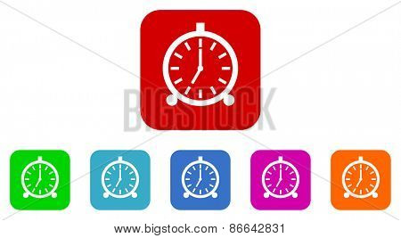 alarm clock vector icons set