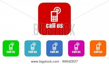 call us vector icons set