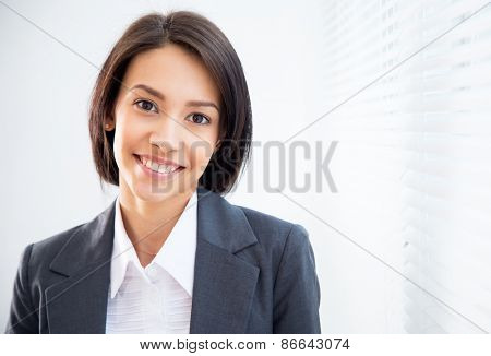 Portrait of asian business woman on the background of the blinds