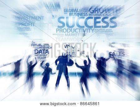 Business People Success Achievement Celebration Global Happiness Concept