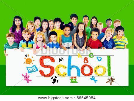 School Group of Kids Education Blackboard Concept