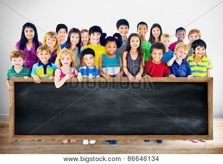 Diversity Friendship Group of Kids Education Blackboard Concept