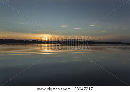 Sunset over a pristine lake