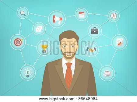 Modern Businessman Hipster Conceptual Infographics