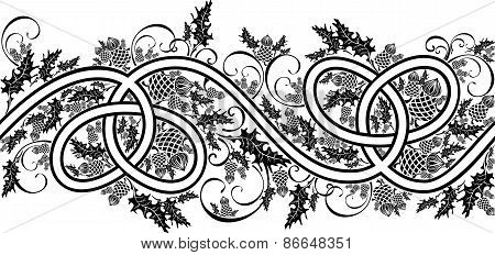 Border With Celtic Ornament And Flowers Thistle Black And White.eps