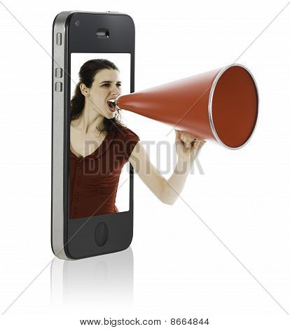 Woman Yelling In Megaphone