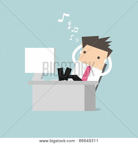 Businessman relaxing on table and listening to his headphones vector