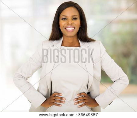 cute businesswoman looking at the camera