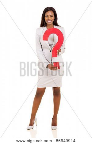 pretty african businesswoman holding question mark isolated on white