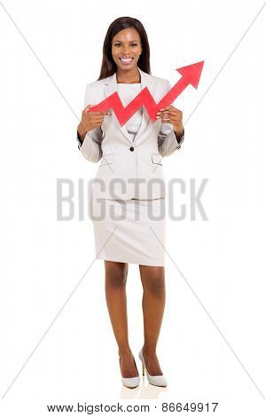 beautiful young african businesswoman with red growth arrow
