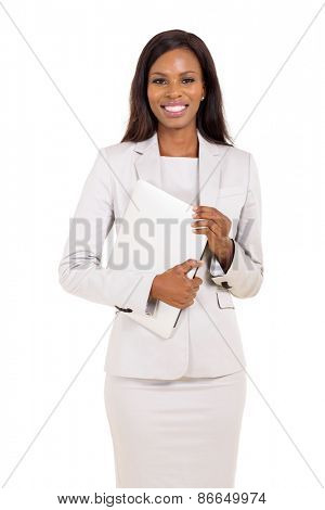 beautiful african american corporate worker holding laptop computer
