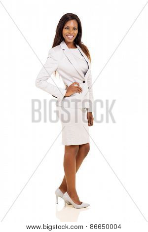 successful young african american corporate worker posing on white background