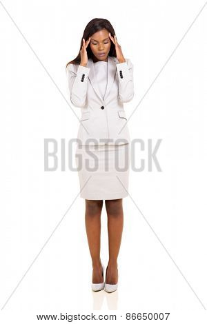 young african woman having headache standing isolated on white background