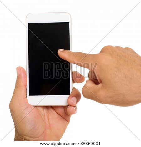 close up of hands using mobile phone on white background