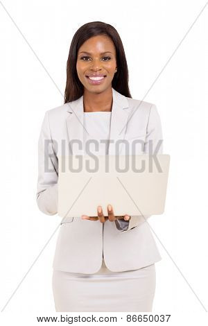 modern young african corporate worker using laptop computer
