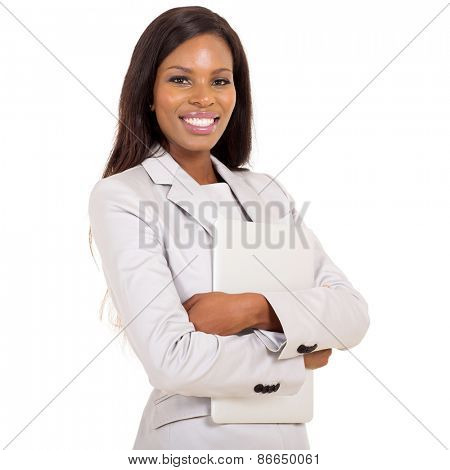 cheerful african business woman with laptop computer