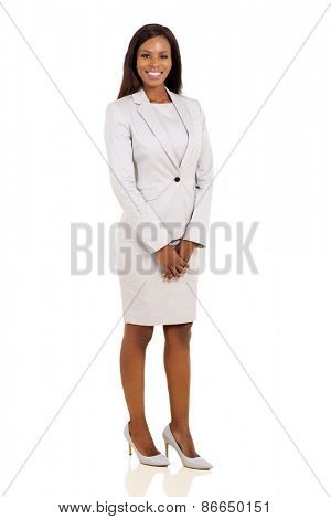 modern african business woman isolated on white background