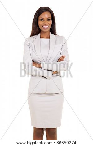 portrait of african american businesswoman isolated on white background