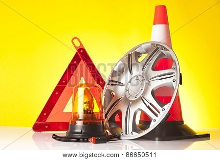 warning triangle and car service accessories