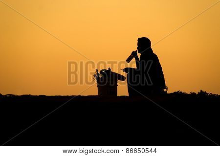 Man Beer Cigarette Silhouette