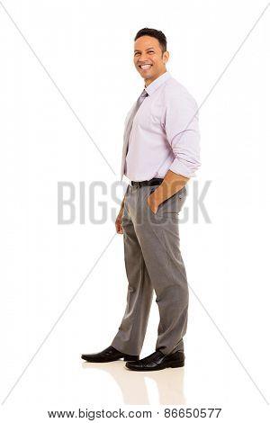 joyful mature businessman posing on white background