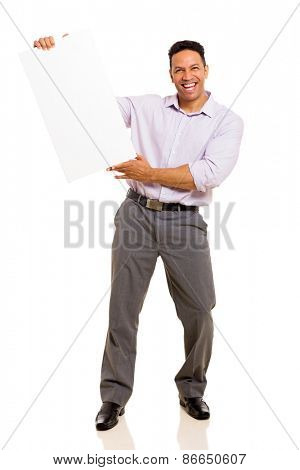 cheerful middle aged man holding blank board isolated on white background
