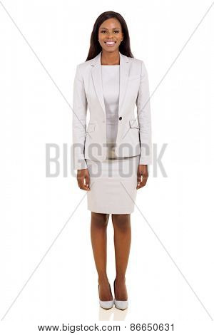 happy young african american business woman on white background