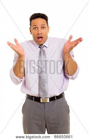 portrait of surprised middle aged businessman on white background