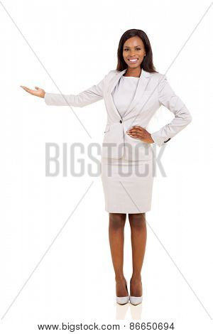 friendly african businesswoman presenting empty space