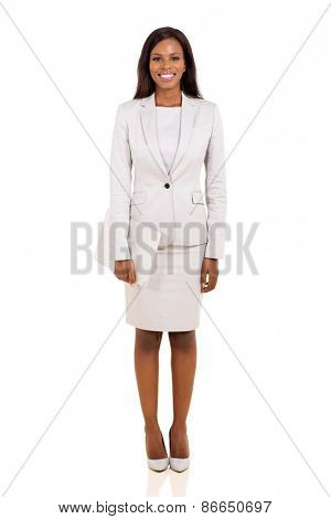 young afro american businesswoman holding laptop computer isolated on white background
