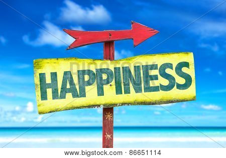 Happiness sign with beach background