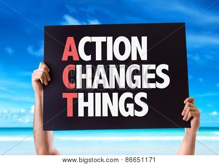 Action Changes Things card with beach background