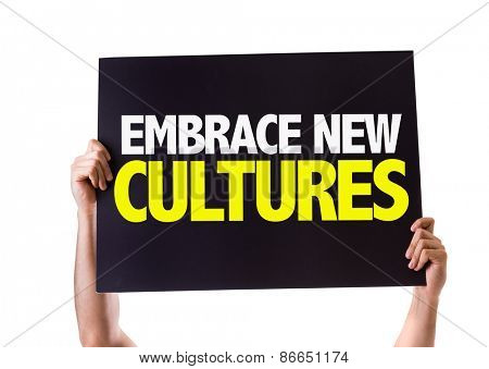 Embrace New Cultures card isolated on white