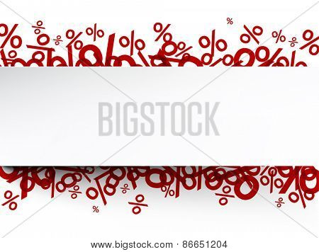 White paper note background over percent signs. Promotion coupon. Vector illustration.