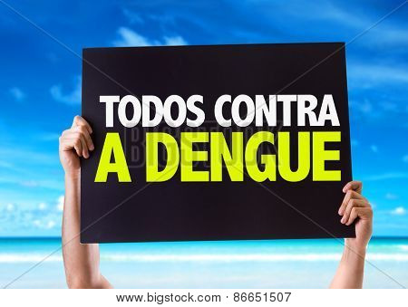 All Against Dengue card with beach background