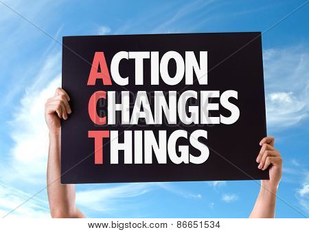 Action Changes Things card with sky background