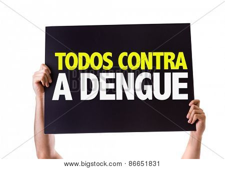 All Against Dengue card isolated on white
