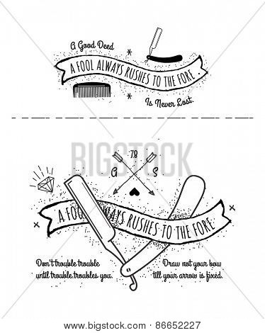 vector set - Trendy Retro Vintage Insignias - tattoo Badges - dot work