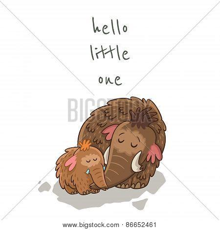 Cute cartoon card with mammoth. Vector illustration