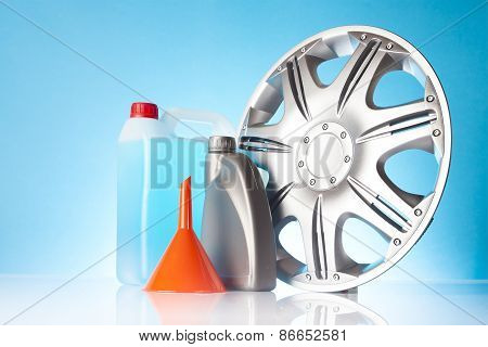 group of car accessories including windshield washer fluids