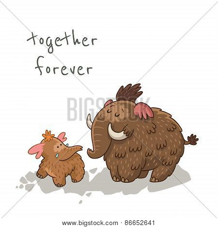 Cute cartoon card with mammoth. Vector illustration